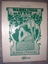 1907 Warblings At Eve Vintage Sheet Music Piano Solo by Brinley Richards Op.17