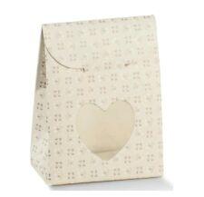 10 Sacchetti porta confetti cuore per bomboniera made in italy tortora