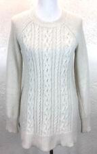 #S35 Fenn Wright Manson Sz M Angora Blend Cream Chunky Cable Knit Long Sweater