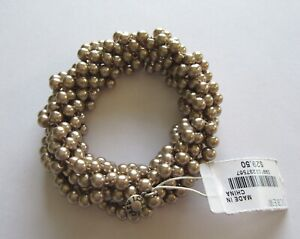 J. Crew  Stretch Bracelet - pearl beads -beige color -twisted strands