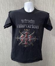 Vtg Mens Black Within Temptation Band  Graphic T-Shirt M