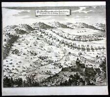 ca. 1664 Szendro Hungary Ungarn siege battle Kupferstich antique print Merian