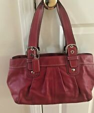 Coach Soho Pleated RED Leather Satchel Purse F13732