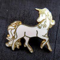 """Vintage Small White Enamel Unicorn Pin 1"""""""