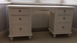 Painted Double Pedestal Dressing Table - Victorian style with tulip feet