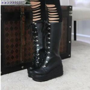 Womens Platform Goth Punk Boots Lace up Tall Calf Knee High Military Knight New