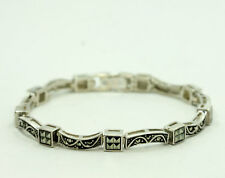 Sterling Silver Round Princess Marcasite Curved Bar Square Link Bracelet 7""