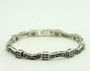 "Sterling Silver Round Princess Marcasite Curved Bar Square Link Bracelet 7"""