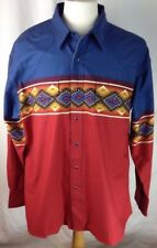 Wrangler Western Shirt XL Mens Aztec Blk Pearl Snap Flap Pkts Geometric Blue Red