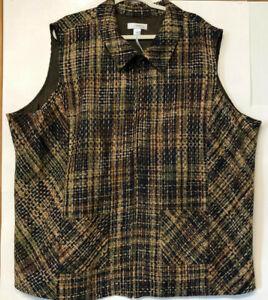 NEW size 5X CJ Banks tweed vest plaid green brown yellow zip front