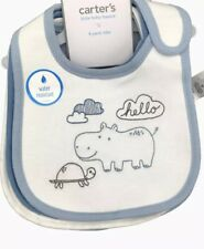 New Carter's Baby Boys 4 Pack Bibs Set Printed Cotton Blue