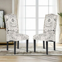 Modern Dining Chairs Script Fabric Accent Armchair Kitchen Living Room Set of 2