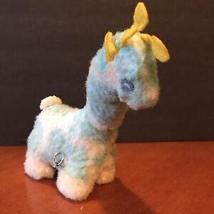 Vtg Eden Toys Musical Giraffe BLUE Wind Up Moving Neck Plush Stuffed Animal Baby