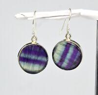 925 Sterling Silver Multi Fluorite Gemstone Earrings jewelry 9.71 gms CCI
