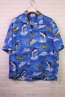 Vintage Pacific Legend Marlin Fish Boats Blue Hawaiian Shirt Button Up Mens 3XL