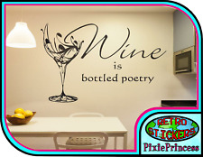 Wine Glass Personalised Wall Art Vinyl Sticker Custom Text Living Room Decal