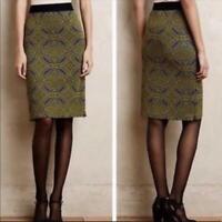 womens green blue pattern MAEVE anthropologie MEDALLION KNIT pencil skirt SMALL