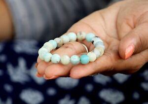 Jet Amazonite Round Beads Stretch Bracelet Natural Genuine Authentic A+