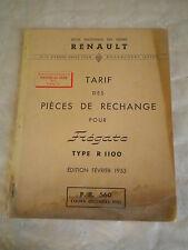 Vintage parts catalogue Price list Renault Fregate R1100 1953 PR560