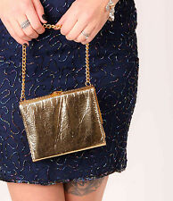 60s 70s metallic patent gold foil effect clutch bag / evening bag Party Prom MOD