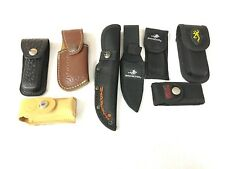 Lot of 8 Leather & Nylon Knife Sheaths Buck Winchester Marble's Browning x-1094
