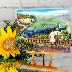 Lovely Tuscany Art 3D Picture Terrace Boats Family Decor Travel Holiday  w/Easel