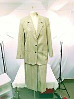 Womens Personal 2 Pc Blazer/Skirt Lined Wool Blend Brown Grey Plaid Sz12/16 NWOT
