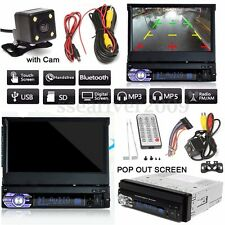 "7"" Touch Screen 1 DIN Car Bluetooth Radio FM Music Video Player w/ Rear Camera"