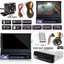 "7"" Touch Screen 1 DIN Car Bluetooth Radio FM Music Video Player w/ Rear Camera"