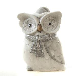 Süße Wintereule mit Schal & Mütze Eule Grau Keramik Dekoeule Uhu Owl Höhe 20,5