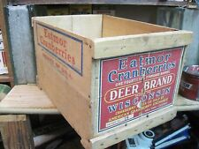 WOODEN CRATE BOX WOOD SHIPPING CRANBERRIES PAPER LABEL DEER BRAND PRIMITIVE