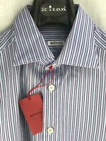 KITON NAPOLI Mens Dress Shirt 16 1/2 - 42 Spread Collar MONOGRAMED Blue Stripes
