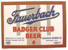 IRTP Fauerbach Brewing BADGER CLUB BEER label WI 12oz Var. #2