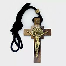 St.Saint Benedict Medal Wooden  Crucifix cross Necklace Cruz medalla San Benito