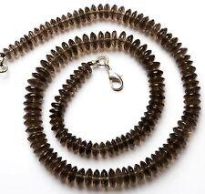 "Natural Gem Smoky Quartz 6-8MM Faceted German Cut Bead Necklace 17"" 183Cts."