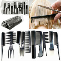 10pcs/Set Hair Styling Comb Professional Black Hairdressing Brush Salon Barbers