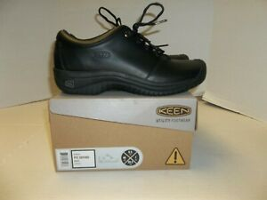 Womens Size 9.5 Keen PTC Oxford Black Leather Slip Resistant Comfort Shoe