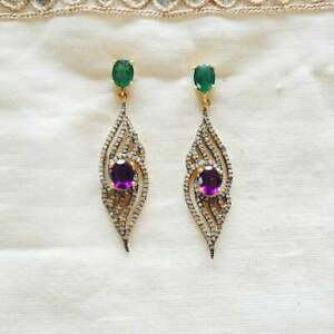 Earring Natural Pave Diamond Amethyst Emerald 925 Sterling Silver Jewelry SA