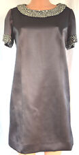 TONY WARD Haute Couture Charcoal Pearl Applique Short Sleevess Silk Dress Sz 14