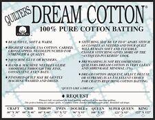 Quilters Dream Cotton Batting Natural Request Loft Craft Size Batting