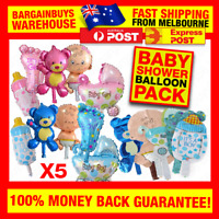 5pcs Girl Boy Baby Shower Decorations Foil Balloons Boys Girls Babies Party