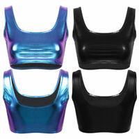 Womens Shiny Metallic Bralette Bra Bustier Crop Workout Tops Sport Top Cami Vest