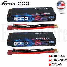 2X Gens Ace 6000mAh 2S 7.6V HV 100C RC Lipo LCG Battery Pack Hardcase for Racing