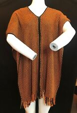 BNWT MISSONI Orange Label Zigzag Black & Orange Wool Blend Poncho 1 Size SAVE£