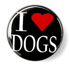 "I LOVE DOGS - Novelty Button Pinback Badge 1"" Heart Pet"