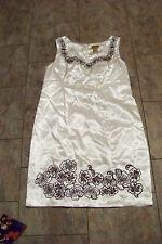 womens midnight velvet white polyester flower trimmed dress size 14