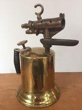 Antique Vintage Brass Copper Blow Torch Tool Wooden Handle Steam Punk Soldering