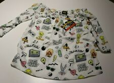 NEW LOONEY TUNES WOMENS WHITE PRINT OFF SHOULDER BLOUSE SIZE SMALL