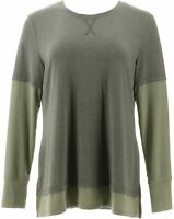 Isaac Mizrahi Live! TRUE DENIM X-Small Long Sleeve Layered Knit Top Green XS