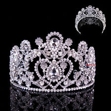 8cm High Large Full Crystal Heart Wedding Bridal Party Pageant Prom Tiara Crown